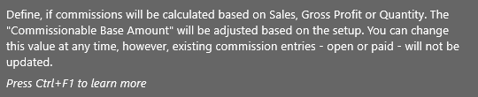 Commission Management - Help