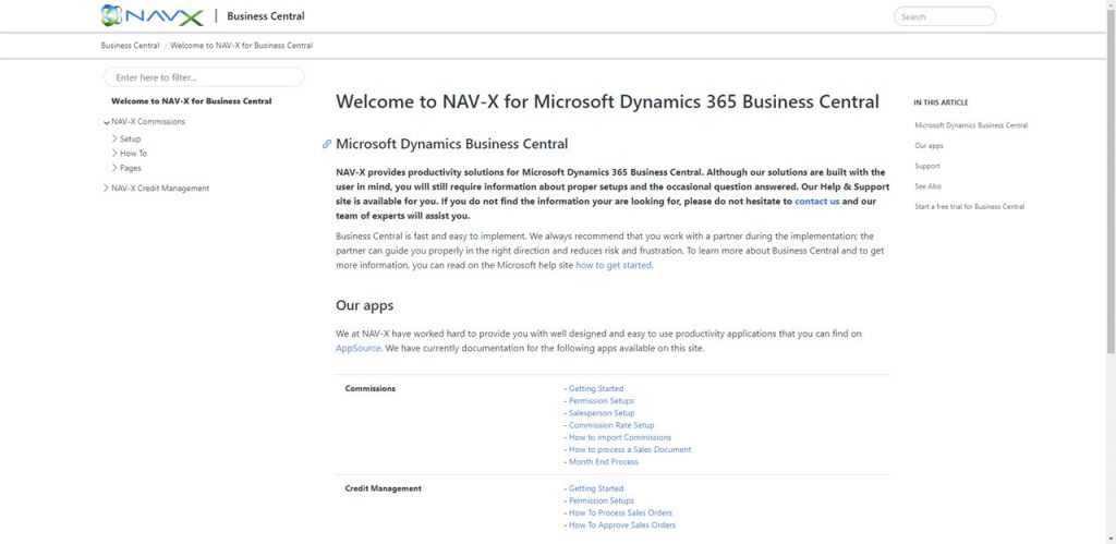 Business Central Documentation for NAV-X